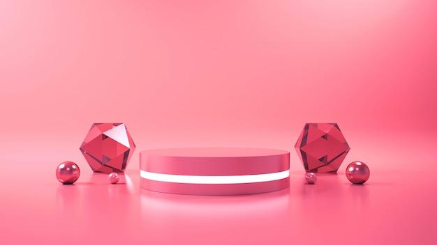 Roze achtergrond met geometrische vorm podium