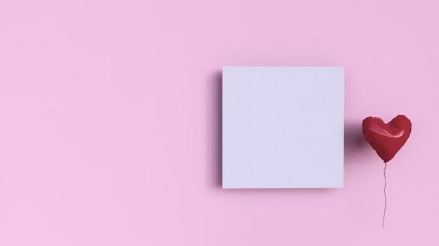 Roze achtergrond met vierkant papier en liefdeballon, valentijnskaartdag