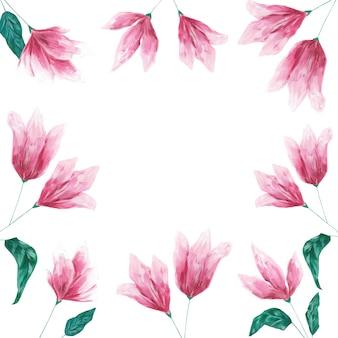 Roze acryl bloemen frame geïsoleerd op een witte achtergrond. mooie bloemensjabloon, kopieer ruimte, achtergrond. botanisch ontwerpelement voor kaarten, uitnodigingen, groeten, banner, blanco en decoratie.