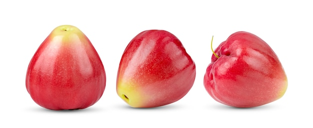 Roze appel geïsoleerd op een witte achtergrond