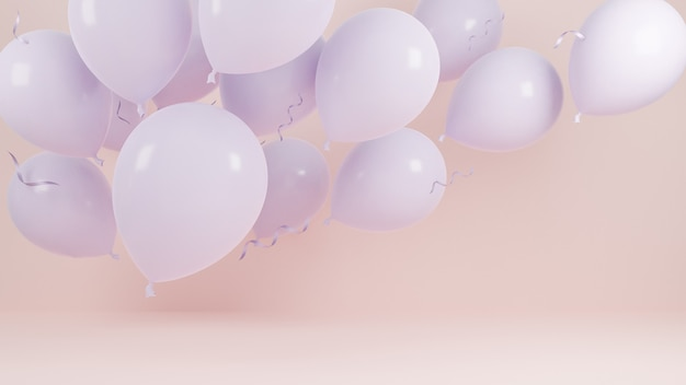 Roze ballonnen drijvend op roze pastel achtergrond. verjaardagsfeestje en nieuwjaarsconcept. 3d-model en illustratie.