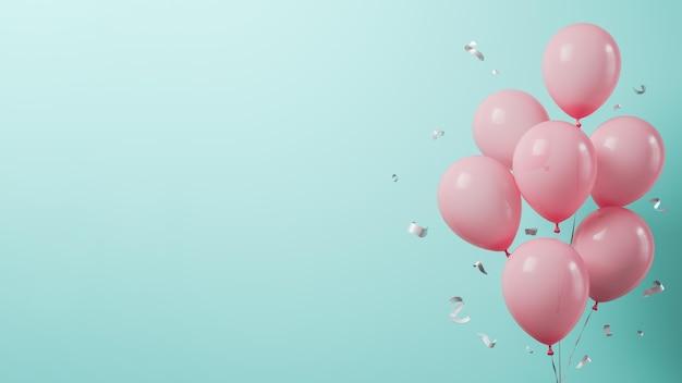 Roze ballonnen met kopieerruimte