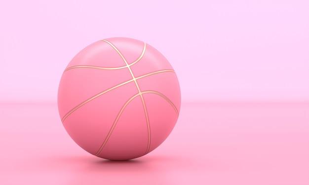 Roze basketbal met gouden inzetstukken. 3d render.