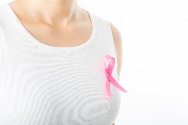 Roze bewustzijnslint voor borstkanker door vrouw die het gezondheidszorgconcept moet tonen.