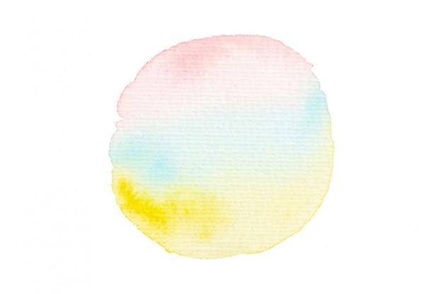 Roze, blauwe en gele aquarel vlek