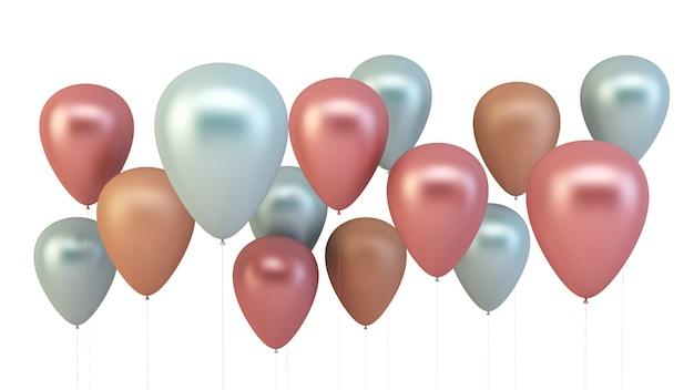 Roze, blauwe en gouden ballonnen geïsoleerd