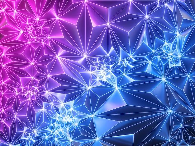 Roze blauwe neon geometrische achtergrond met gloeiend raster