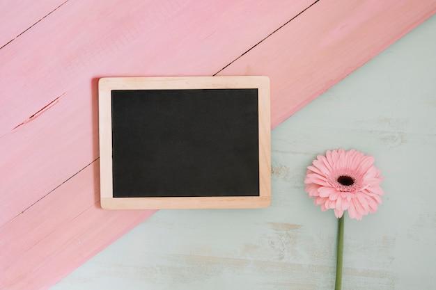 Roze bloem dichtbij bord