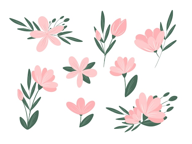 Roze bloemen composities set geïsoleerd op een witte achtergrond floral design elementen collectie