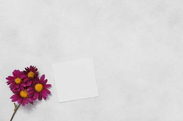 Roze bloemen met blanco papier op tafel