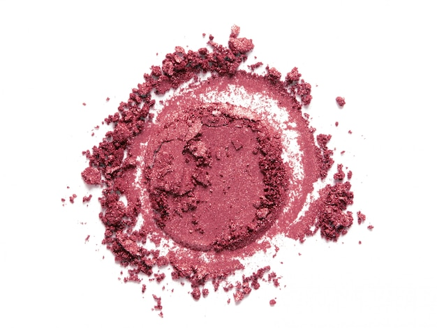 Roze bloost, oogschaduw rond monster dat op wit wordt geïsoleerd