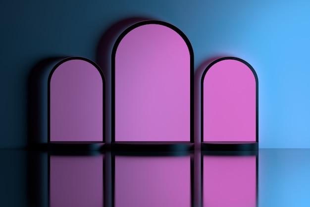 Roze bogen in blauwe muur