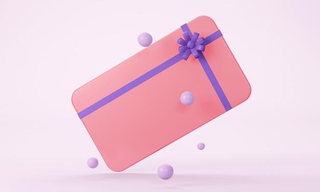 Roze cadeaukaart met een paarse strik met een decor van cirkels. 3d-verkleuring.