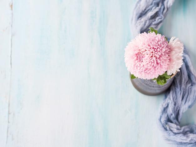 Roze chrysant in een vaas op pastel kleur