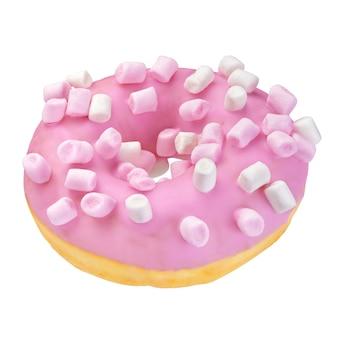 Roze donut met marshmallow hagelslag geïsoleerd