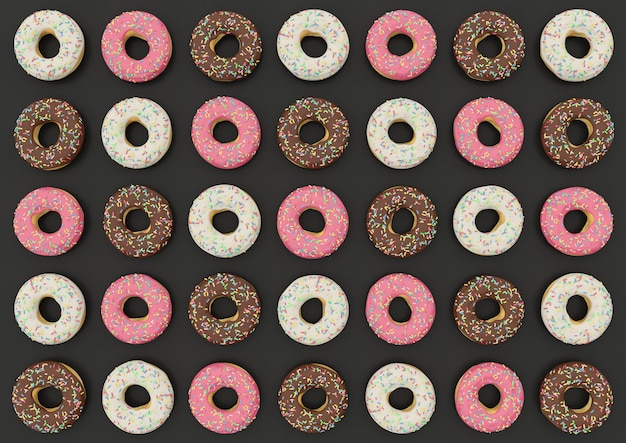 Roze donuts, chocolade en witte chocolade op donker.
