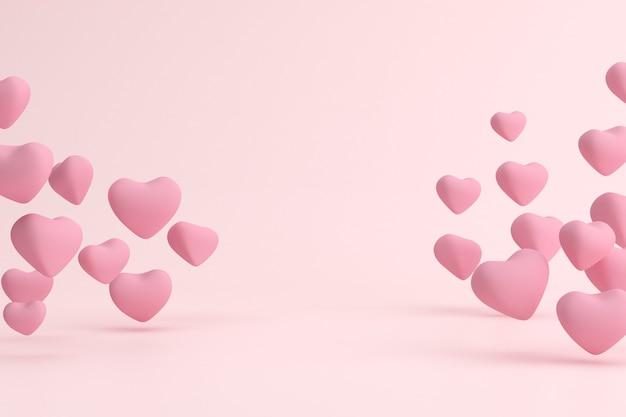 Roze drijvende hartjesvorm