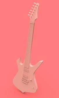 Roze elektrische gitaar in de stijl van minimaal op een roze achtergrond. 3d-weergave.