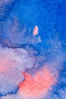 Roze en blauwe handgemaakte techniek aquarel