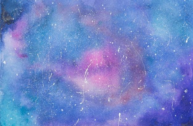 Roze en blauwe mix van verven op papier