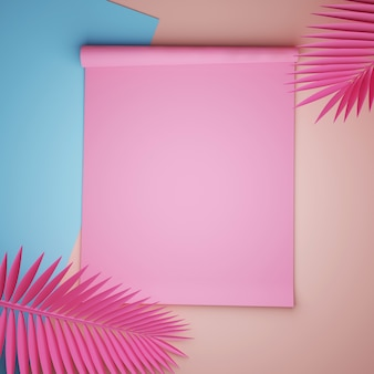 Roze en blauwe papieren met roze palmbladen