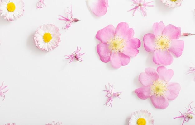 Roze en gele zomerbloemen op wit oppervlak