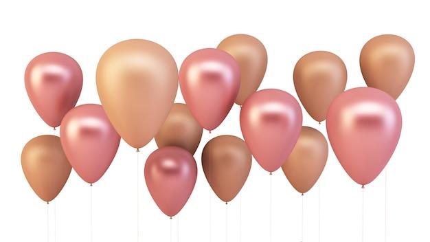Roze en gouden ballonnen geïsoleerd