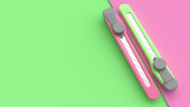 Roze en groene snijder op papier voor achtergrond