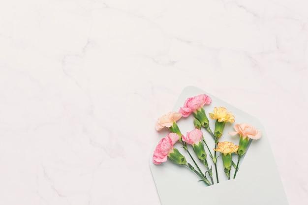 Roze en oranje anjers in pakket