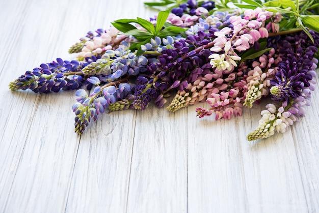 Roze en paarse lupinebloemen