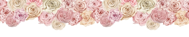 Roze en romige rozenbanner. naadloze koptekst met prachtige aquarel rozen. eindeloze handgetekende bloemen illustratie.