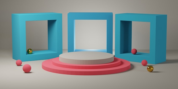 Roze en wit cilindrisch podium met vierkante vormen op zachte kamer 3d-rendering