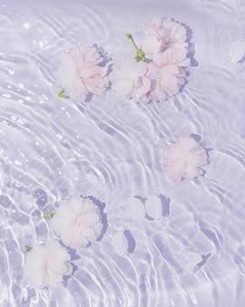 Roze en witroze bloemen in water met pastelpaarse golven minimale platliggende natuurachtergrond
