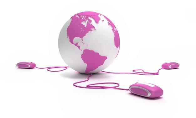 Roze en witte earth globe gericht op amerika verbonden met drie computermuizen.