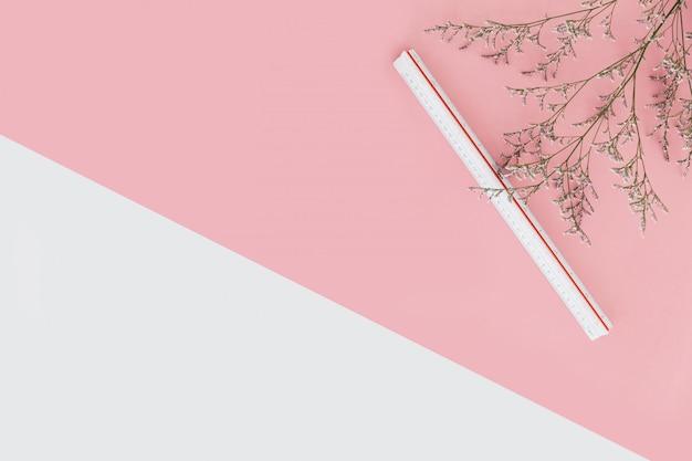 Roze en witte kleurenachtergrond met bloemtakken en schaalheerser aan de rechterkant.