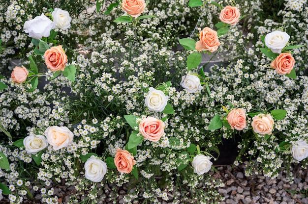 Roze en witte rozen op madeliefjebloemdecoratie