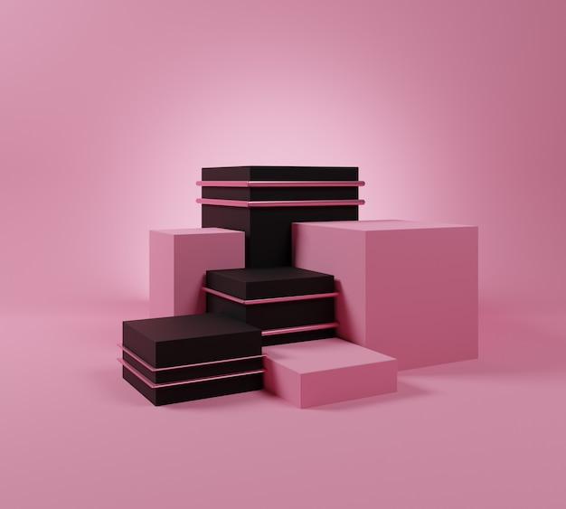 Roze en zwart podiummodel met minimale vorm.