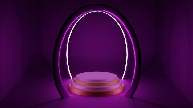 Roze futuristisch podium met gloeiend licht