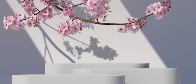 Roze geometrische podium en kersenbloesem met lichte natuur witte achtergrond 3d-rendering