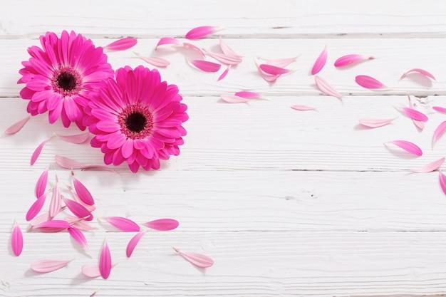 Roze gerber op witte houten tafel