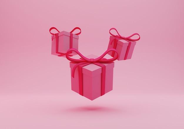Roze geschenkdoos 3d-rendering