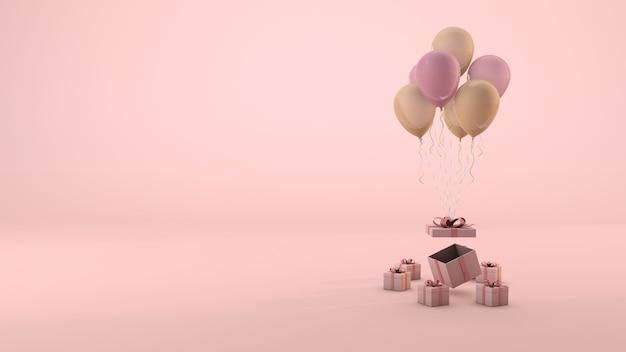 Roze geschenkdoos en ballon drijvende minimale roze achtergrond. 3d-weergave