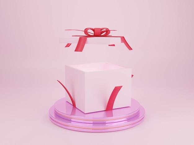 Roze geschenkdoos geopend op roze podium voor productpresentatie reclame voor kerstviering d rendering