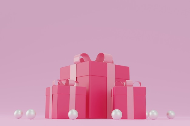 Roze geschenkdoos of huidige doos op roze achtergrond, valentijn concept. 3d-rendering.