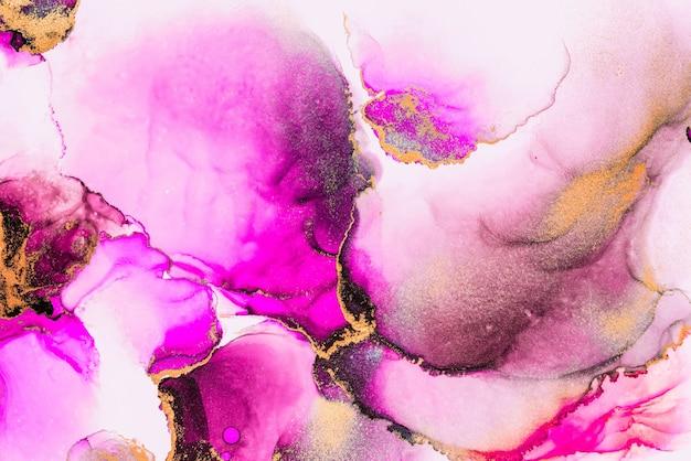 Roze gouden abstracte achtergrond van marmeren vloeibare inkt kunst schilderij op papier.