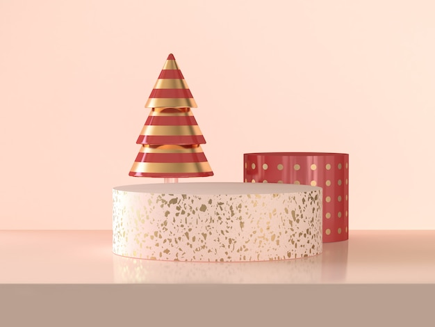 Roze gouden van de het vieringskerstmis van het cirkelpodium abstracte 3d teruggevende concept van de de vakantieconcept