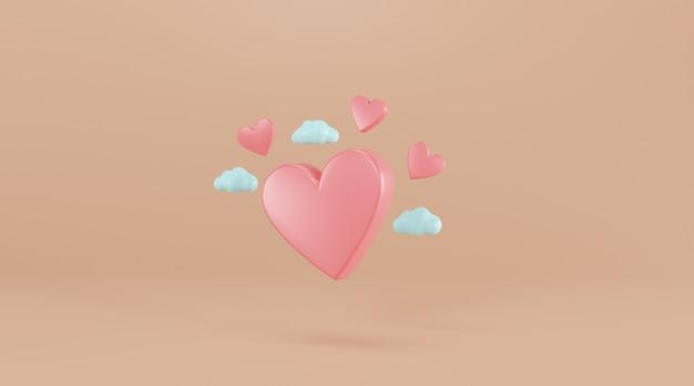 Roze hart 3d illustratie.