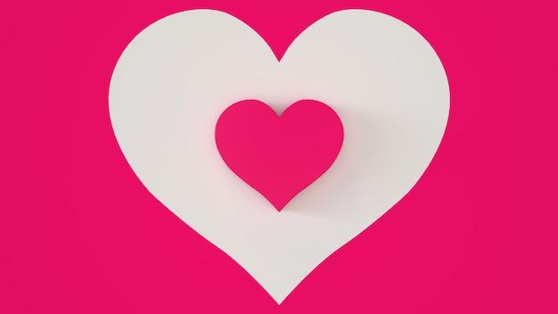 Roze hart op een wit roze achtergrond 3d render