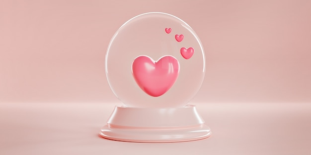 Roze harten in een magische glazen bolvormige bal op een pastel roze achtergrond.