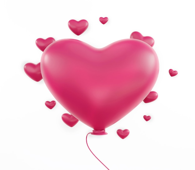 Roze hartsymbool op geïsoleerde op witte achtergrond, gelukkige valentijnsdag.